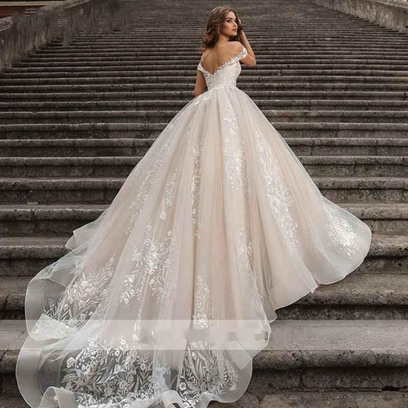 2020 בציר ארוך חתונת שמלות מתוקה כבוי כתף נסיכת חתונה שמלת מותאם אישית כלה שמלות Robe דה Mariee