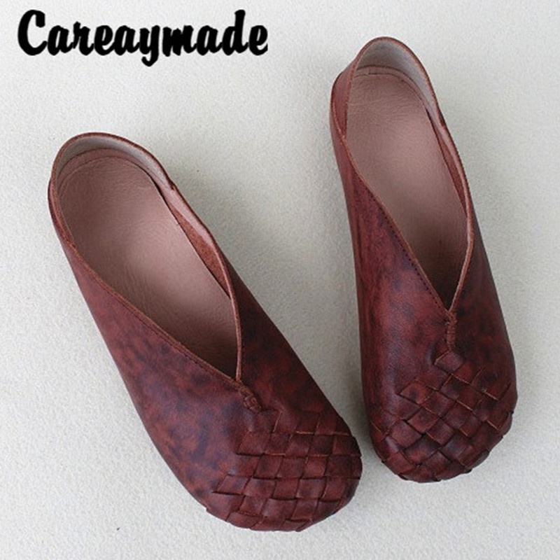 Careaymade-Retro Hand-woven leather single shoes skid-proof round-headed flat heel leisure first-layer cowhide women's shoes