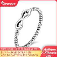 BAMOER Vendita Calda 100% 925 Sterling Silver Trendy Infinity Anelli di Barretta Elegante per Le Donne Aggancio di Cerimonia Nuziale Dei Monili del Regalo SCR094