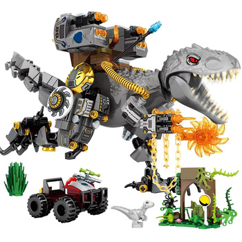 ts8000 jurassic dinosaurs base tyrannosaurus escape building blocks toys kids diy bricks gift for children compatible with lepin 560pcs Jurassic Reload Tyrannosaurus Rex Building blocks Dinosaur World with Car Figures Bricks Toys For Children