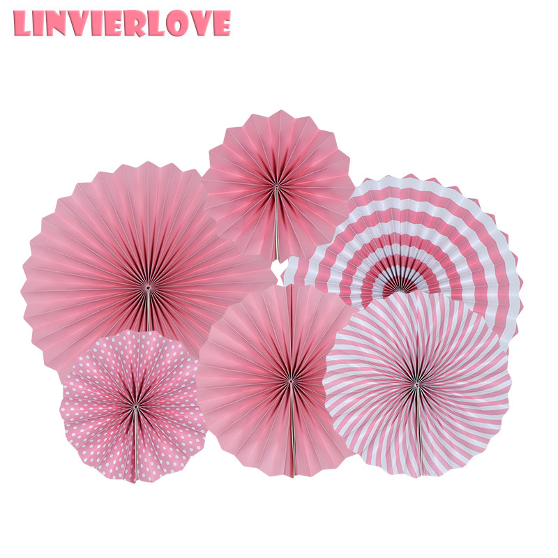 LINVIERLOVE Pink Red Solid Color Paper Fans For Party DIY Decoration Unicorn Hanging Fan Wedding Birthday Party Wall Supplies in Party Backdrops from Home Garden