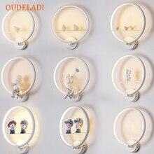 מודרני שחור לבן LED קיר מנורות ציפור אוהבי מלאך ילדים אלומיניום דקורטיבי פנים סלון חדר אוכל חדר מסדרון תאורה