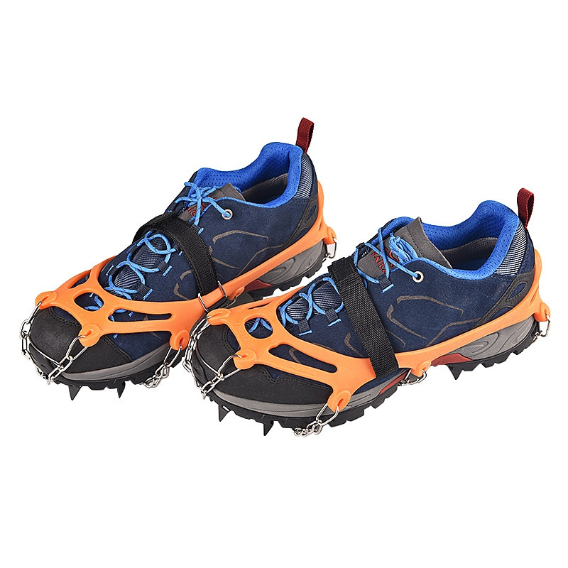 Ice Cleats Crampons Traction Snow Grips For Boots Shoes Anti-Slip 12-Spikes Safe Protect For Hiking Climbing Mountaineering