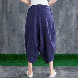 Pantalones Capri de Color sólido sin entrepierna nuevo estilo de algodón de lino de Color sólido de gran tamaño de estilo étnico cintura elástica pantalones Harem de las mujeres
