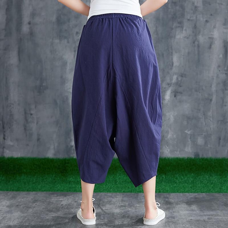 Solid Color Off Crotch Capri Pants New Style Cotton Linen Solid Color Large Size Ethnic-Style Elastic Waist Harem Pants Women's