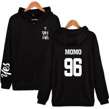 New kpop TWICE YES OR YES print hip hop zipper men women hoodies