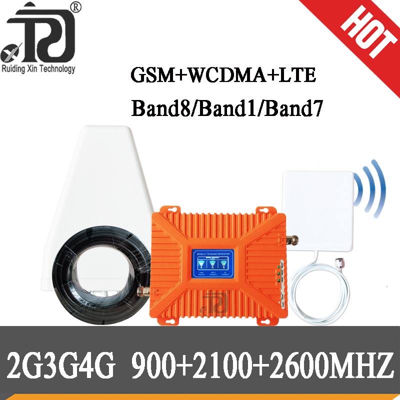 2G 3G 4G Tri Band Repeater GSM 900+UMTS/WCDMA 2100+LTE 2600 Cell Phone Signal Booster GSM LTE 2600 Cellular Signal Amplifier