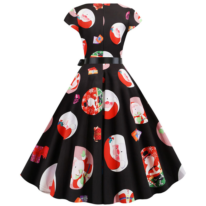 Women Christmas Party Dress robe femme Plus Size Elegant Vintage Short Sleeve Xmas Summer Dress Black Casual Midi Jurken Vestido 836