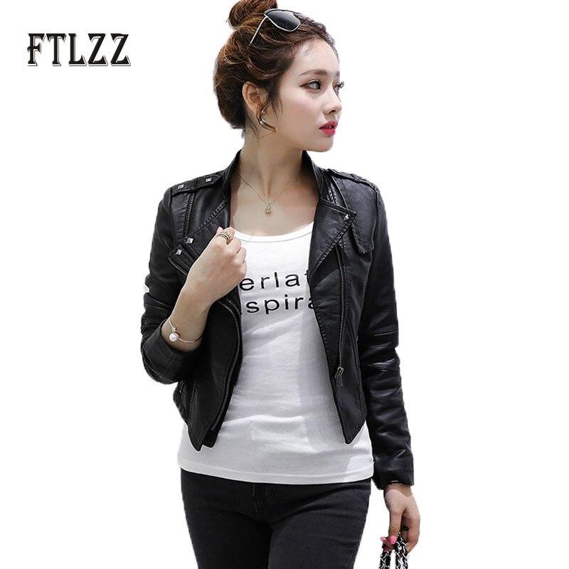2019 Women Faux Leather Jacket Spring Autumn Slim Biker Jacket Ladies Black Rivet Moto Pvs Short Coats Outerwear