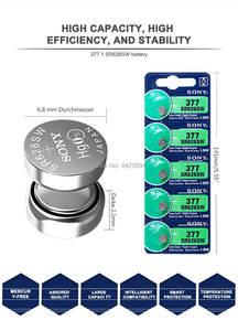 Image 3 - 5pc Sony 100% מקורי 377 SR626SW SR626 AG4 1.55V כסף אוקסיד SR626SW 377 כפתור לחצן תוצרת יפן