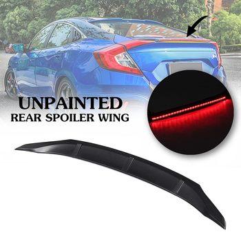 Unpainted Black Led Brake Light Rear Spoiler Wing For 2016-2018 Honda-Civic 4DR Sedan ABS 108x11cm Auto Replacement Parts