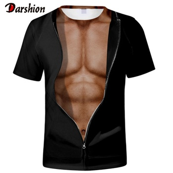 High Quality Men T shirt 3D Fitness Abs O-Neck Short Sleeve Casual Tops Tees Cool Strong Man Hip Hop Tees Fashion Punk T Shirts