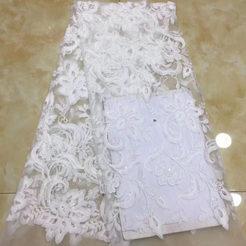 6 colors 5yards/pc pure white African net lace fabric soft French lace fabric with embroidery and sequins for party dress FZZ405
