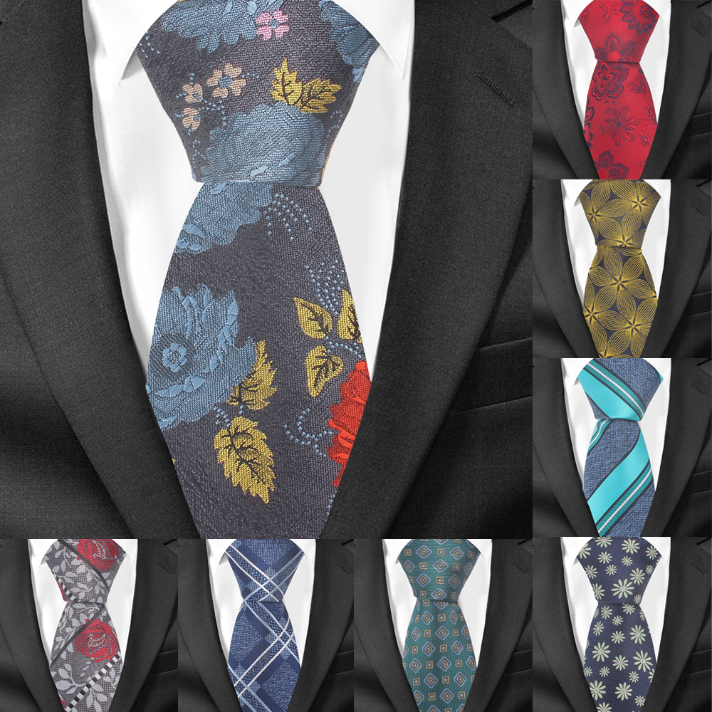 Men Fashion Creative Pattern Wedding Neck Tie Necktie Narrow Slim Skinny S