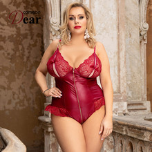Combinaison Femme Sexy Zipper Body Femenino Leather Plus Size Lingerie Body Sexy Jumpsuit Strappy Body Suits for Women RB80939