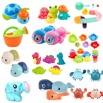 Cute Cartoon Baby Bath Toys Animal Tortoise Classic Baby Water Toy Infant Bathroom Clockwork Toy Educational Kids Beach Bath Toy baby bath toy cute cartoon light music sprinkler water splash ball kids baby bath pool toy led light funny toy