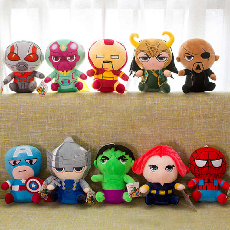 25cm מארוול נוקמי 4 Superhero כל צוות בפלאש צעצוע בובות קפטן אמריקה איש ברזל איש ברזל ספיידרמן לוקי Thor בפלאש רך צעצוע