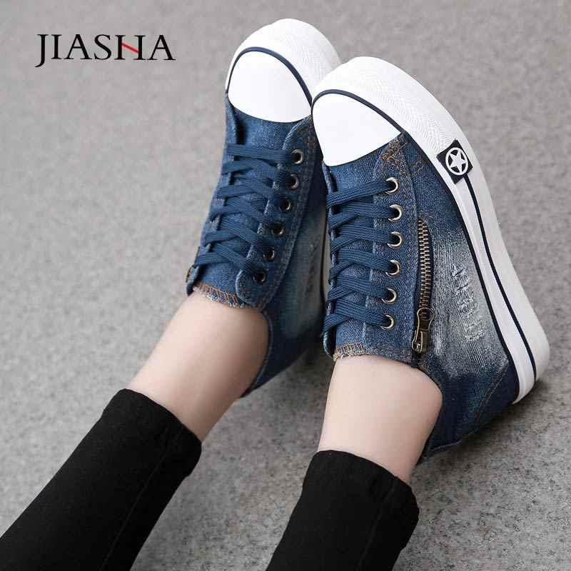 데님 캔버스 신발 여성 2020 여름 여성 스 니 커 즈 패션 플랫폼 스 니 커 즈 여성 신발 캐주얼 레이스 업 여성 신발 신발