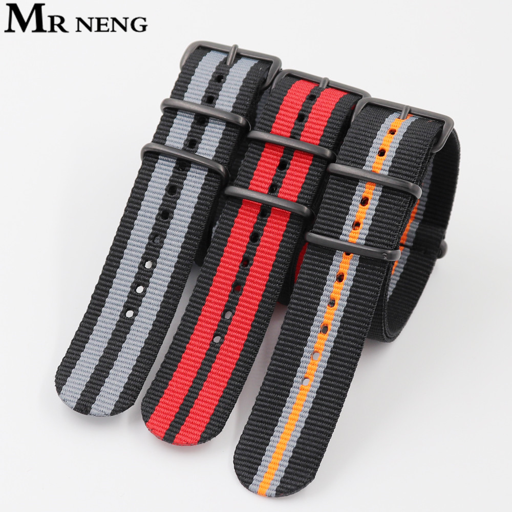 18mm 20mm 22mm Brand Sport Army Nato Fabric Nylon Strap Accessories Bands Belt Black Buckle For 007 James Binding Bracelet Watch