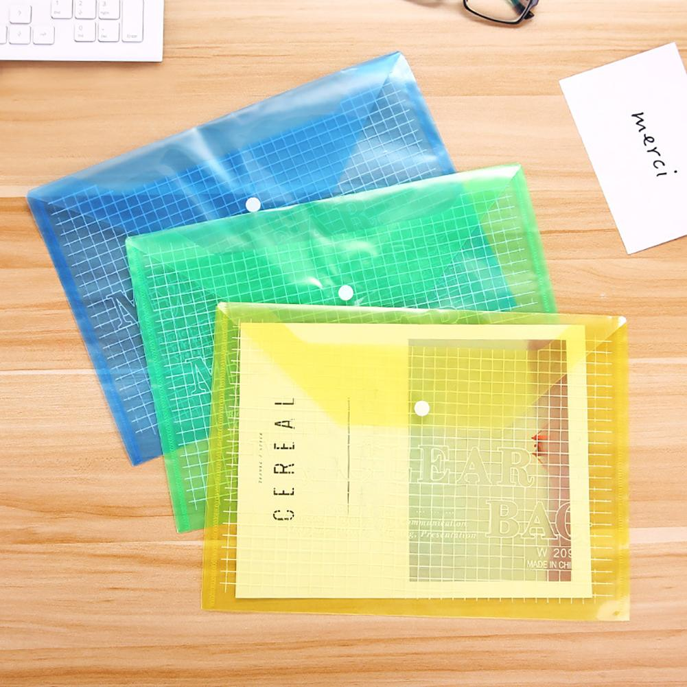 Creative PP Plastic Folder Filing Products Simple Plaid A4 Paper File Bag Document Folder Student Office School Supplies