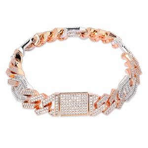 """Image 3 - JINAO  New Style Male Jewelry Bracelet Hip Hop Rock Copper Gold Color Plated Iced Out CZ Stone 14mm Bracelets With 7"""" 8"""""""