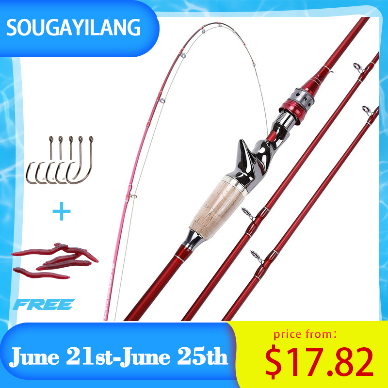 Sougayilang 2.1M 2.4M 4 Section M Power Carbon Fiber Casting Spinning Fishing Rod Travel Ultra Light  Lure Fishing Pole Canne