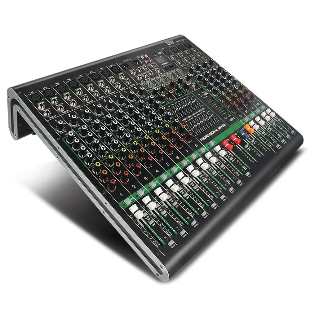 XTUGA MRV122FX table de mixage Audio 12 canaux carte son Ultra-mode de tous les châssis en métal avec affichage numérique MP3, Bluetooth, EQ, effet