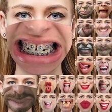 Máscara de Cosplay para Halloween Unisex, mascarilla facial de algodón lavable y reutilizable con estampado divertido 3d, con elásticos ajustables para las orejas