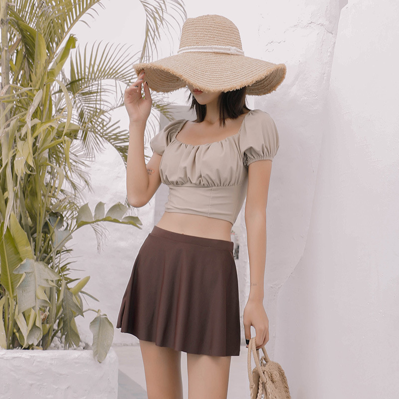 Tankini Women Swimsuit Woman Two Piece Swimwear Biquini French Retro Foam Long Sleeve Contrast Skirt Split Three
