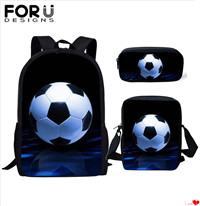 FORUDESIGNS-3Pcs-set-Casual-SchoolBags-Children-Soccer-Football-Print-Kids-School-Backpack-Book-Bag-for-Teen
