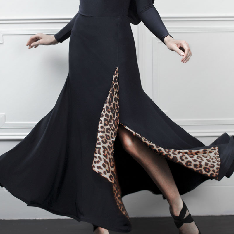 Ballroom Dance Competition Dresses Black Dance Skirt Tango Skirt Waltz Flamengo Dance Costume Modern Ballroom Skirt Leopard Wear