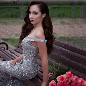 Image 2 - Silver Luxury Sexy Mermaid Evening Dresses 2020 Diamond  Beading Off Shoulder Evening Gowns Real Photo LA6406