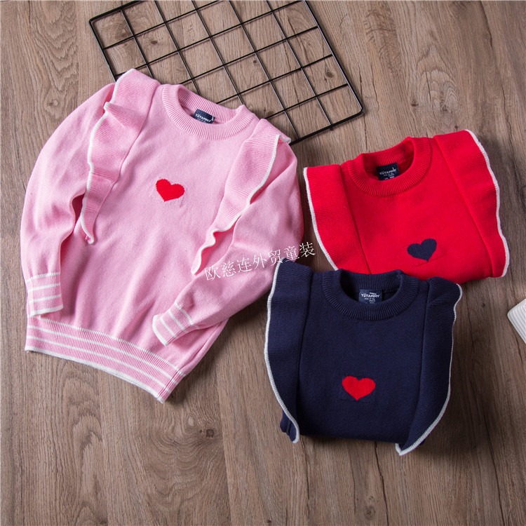CHILDREN'S Sweater New Style 18 Autumn And Winter Girls Korean-style Frilled Heart Knitted Sweater Q8033