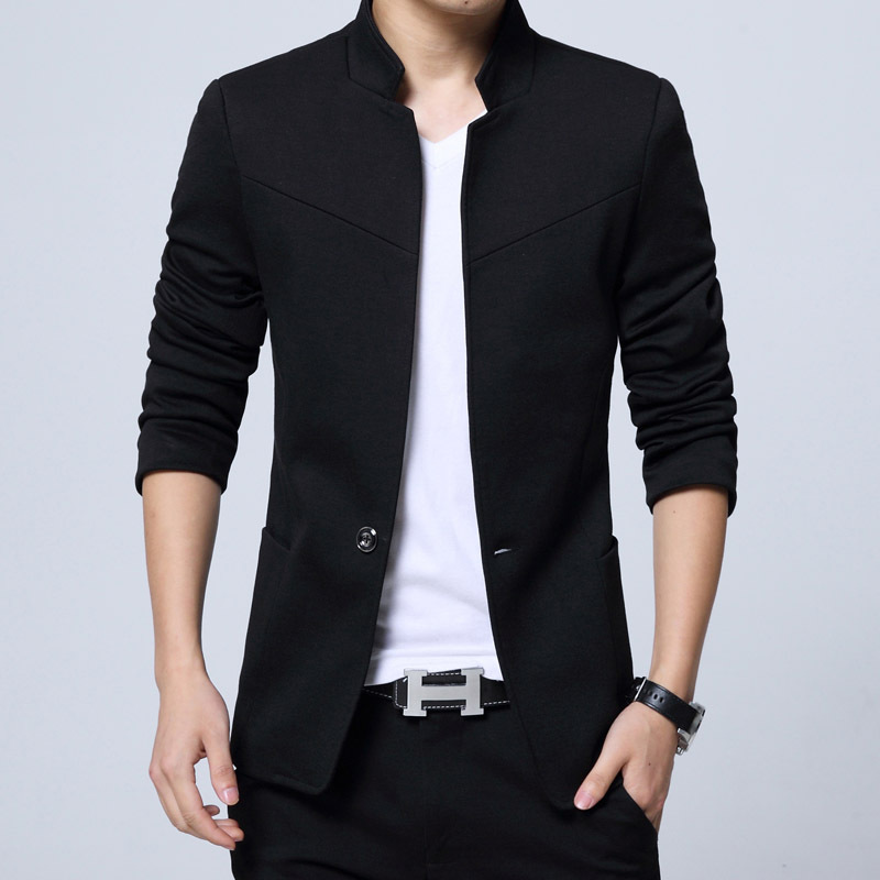 Men Casual Blazers Jacket Business Office Single-Button Work-Suits Spring Slim Autumn