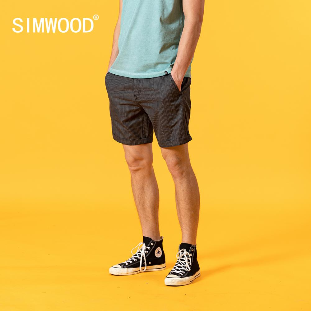 SIMWOOD 2020 summer vintage vertical striped shorts men garment dyed casual loose shorts brand clothing SJ170044