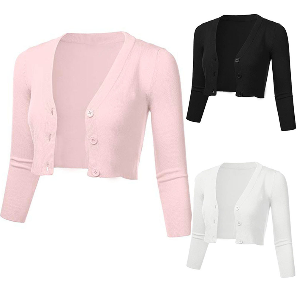 Women Solid Casual Button Down  3/4 Sleeve Cropped Bolero Sexy  Short Coat Cardigan Winter Clothes Cardigan Ladies  M819