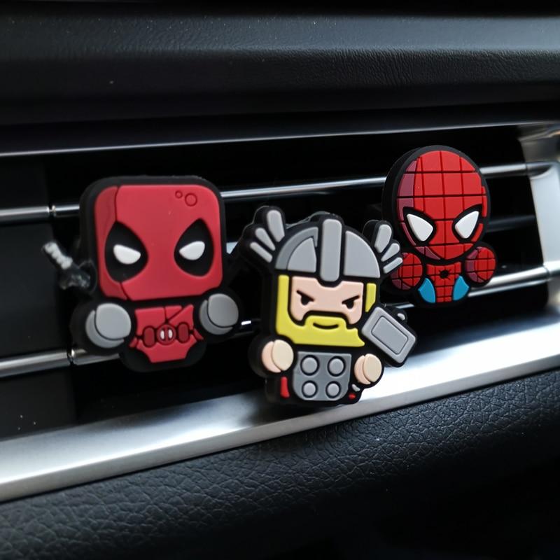 3 قطعة/المجموعة الكرتون معطّر الهواء التصميم العطور المنتقمون أعجوبة نمط Deadpool الحديد رجل السيارات تكييف تنفيس منفذ كليبمعطرات الجوالسيارات والدراجات النارية -