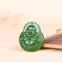 Natural Green Jade Money Buddha Pendant Necklace Chinese Carved Charm Jewellery Accessories Fashion Amulet for Men Women Gifts 2018 hot sales unisex buddha gold jade pendant discount top quality good luck necklace for women men