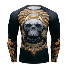 Muay Camiseta de manga larga para hombre, camiseta de secado rápido antisarpullido, camiseta de compresión de boxeo, camisetas ajustadas de KickBoxing, ropa de Fightwear MMA