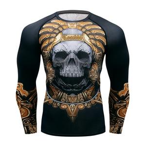 Image 1 - Muay hızlı kuru döküntü bekçi t gömlek erkekler uzun kollu Rashguard boks sıkıştırma forması kickboks sıkı t shirt MMA Fightwear
