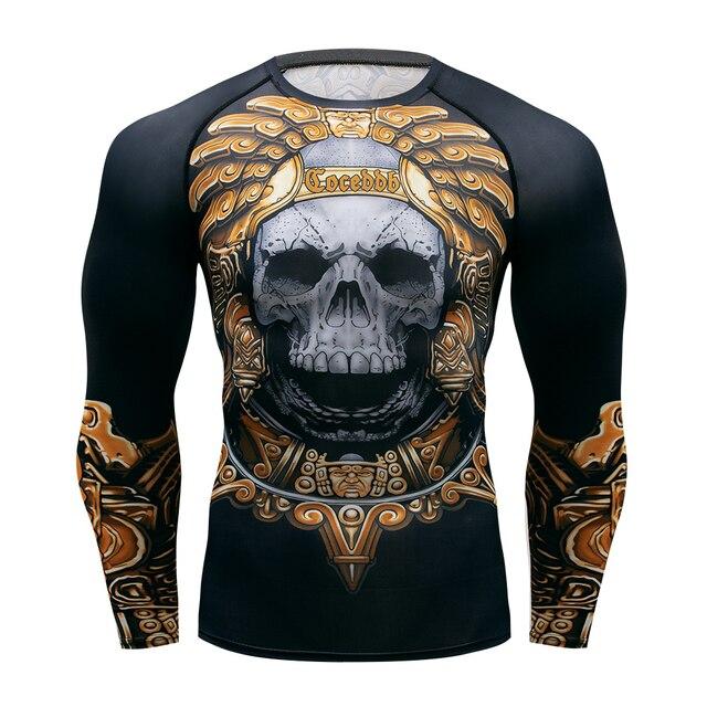 Muay hızlı kuru döküntü bekçi t gömlek erkekler uzun kollu Rashguard boks sıkıştırma forması kickboks sıkı t shirt MMA Fightwear