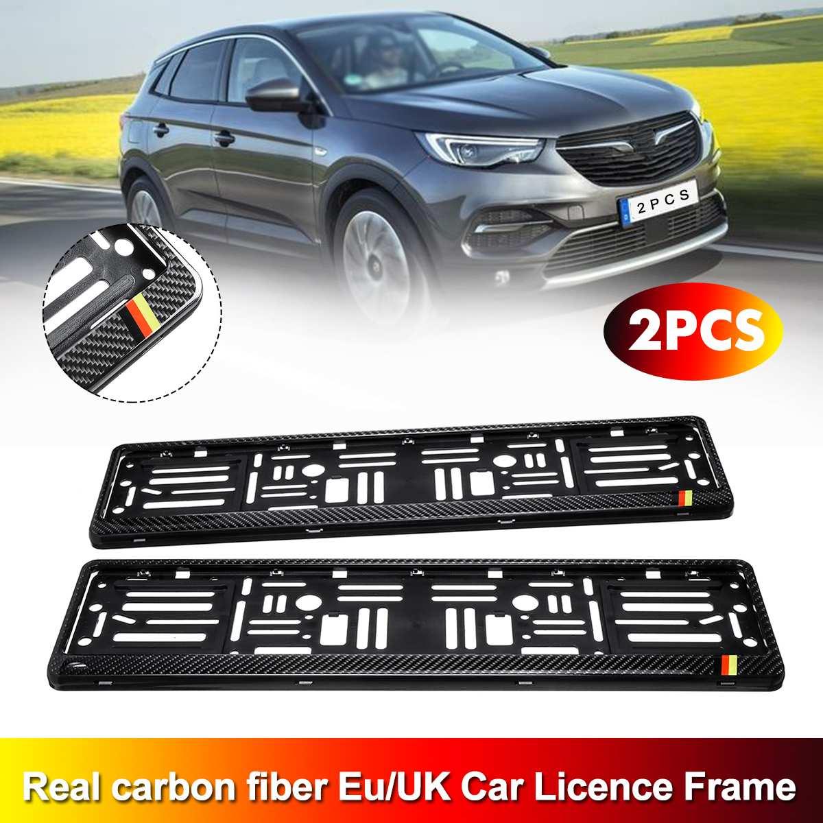 Fitment Automotive General 2PCS Real Carbon Fiber Licence Number Plate Surround Holder Frame Automotive General Car Decorate