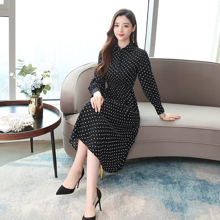 2019 Vintage Black Dot Chic Midi Dresses Autumn Winter Femal Print Beach Long Sleeve Dress Elegant Women Bodycon Party Vestidos 58