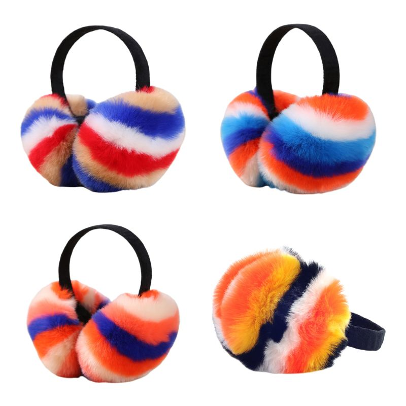 Women Winter Fluffy Plush Earmuffs Rainbow Colorful Stripes Collapsible Headba
