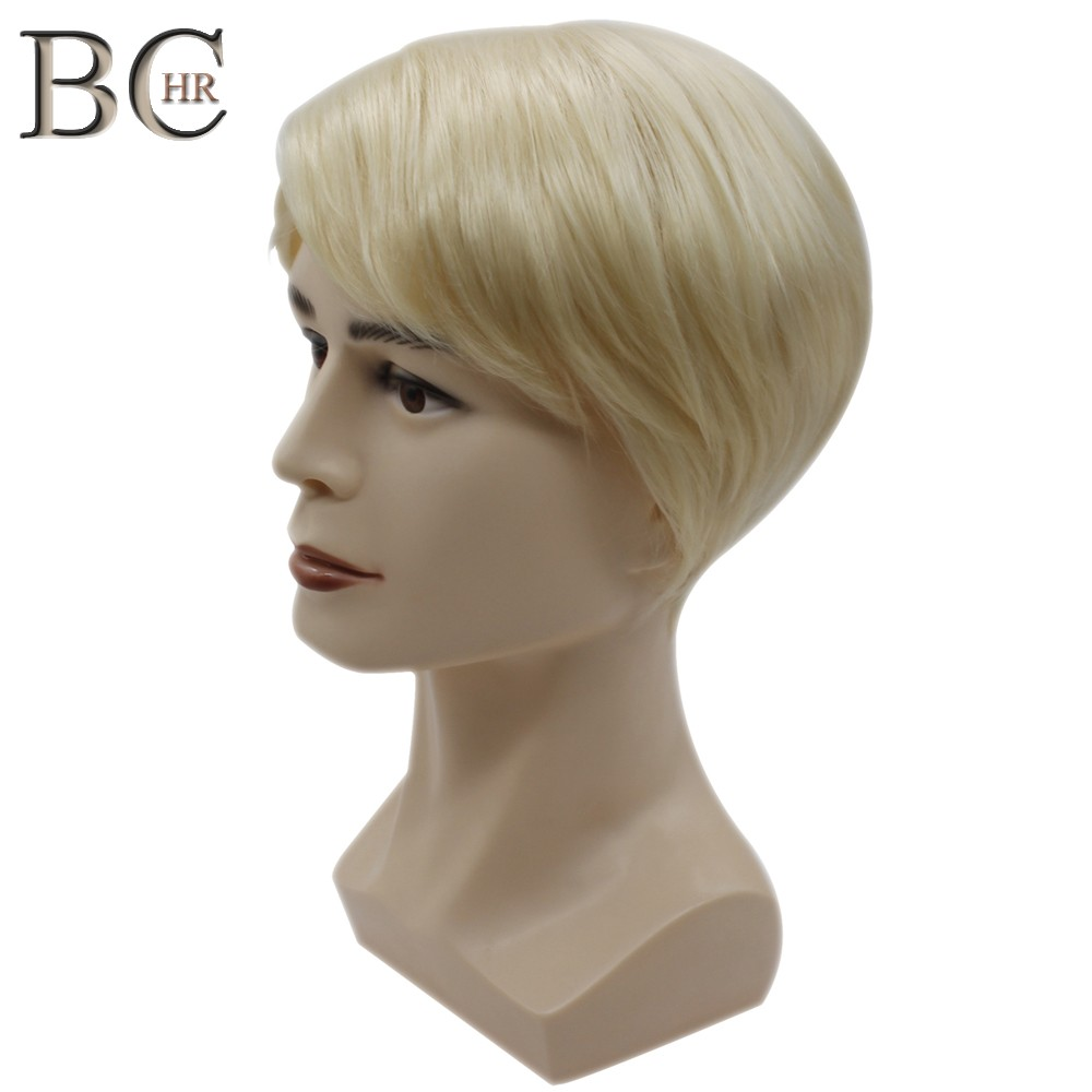 BCHR Short Men Wig Straight Synthetic Wig For Male Hair Fleeciness Realistic Natural Blonde Toupee Wigs