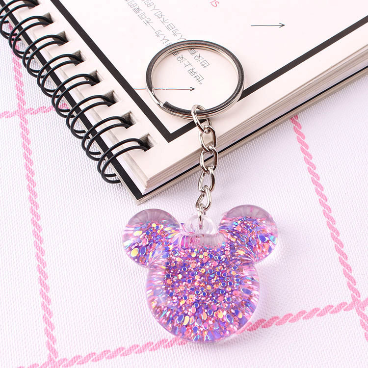Mickey Keychain Cute Cartoon Keychain For Women Kids Gifts Keyring Porte Clef Pompon Bag Car Key Ring llaveros image