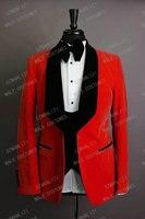 2020 Latest Coat Pant Designs Red Velvet Blazer Men Suit Slim Fit 3 Pieces Men Wedding Suits Groom Party Tuxedos With Pants