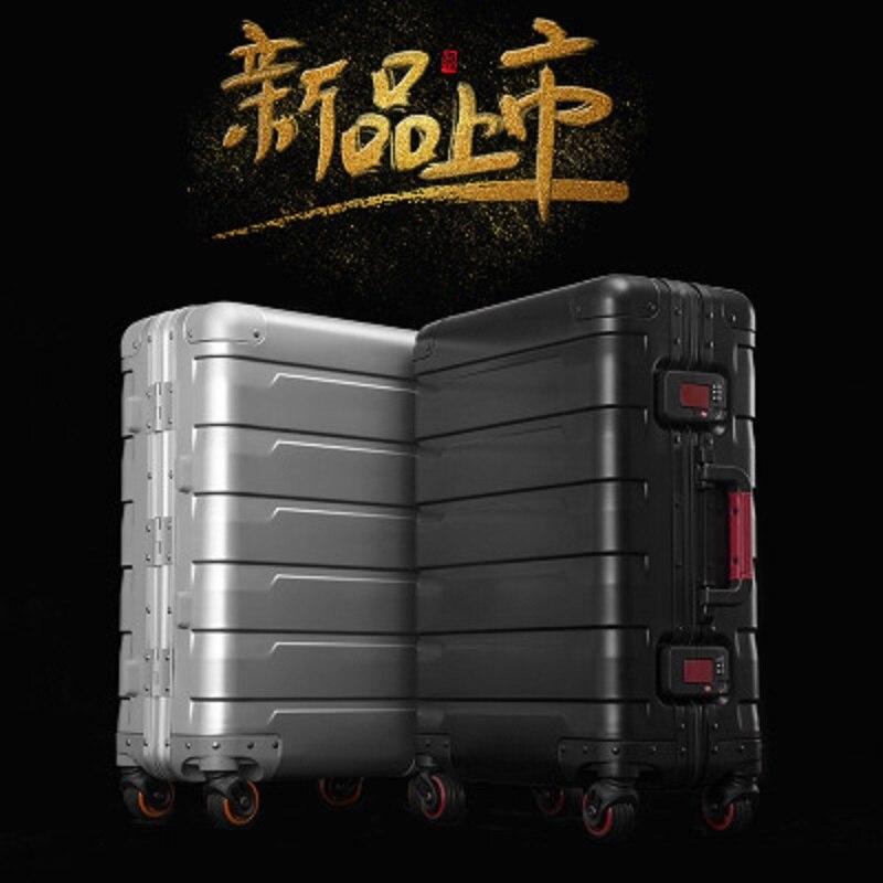 Voyage tale 100% haute qualité aluminium-magnésium luxe affaires embarquement 20/24 taille bagages Spinner marque valise de voyage