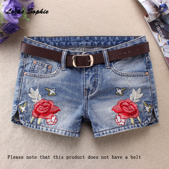 Womens Sexy denim shorts 2020 Summer cotton Embroidery Splicing broken hole Ladies Skinny club super short jeans