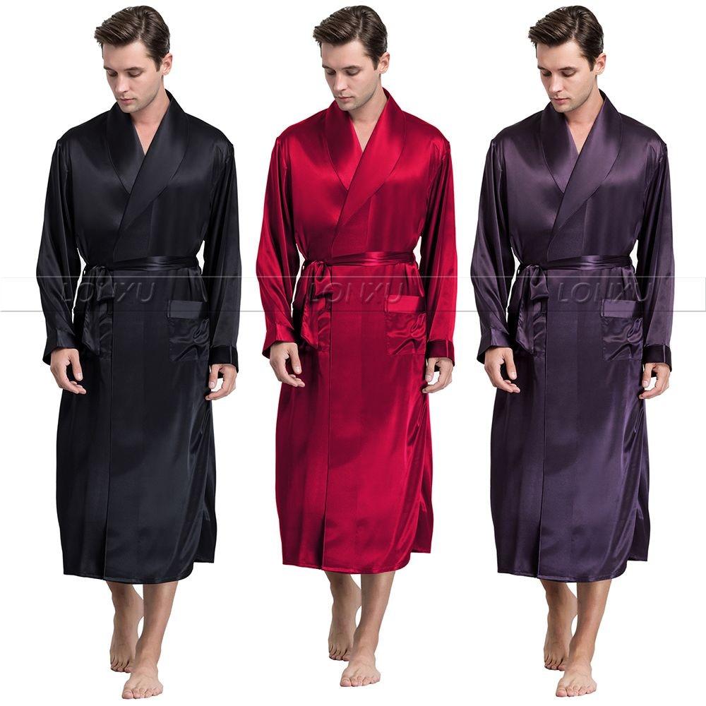 Mens  Silk  Satin  Robes  Bathrobe  Nightgown  Sleepwear  Pajamas  Pyjamas  S~3XL  Plus__Fit All Seasons